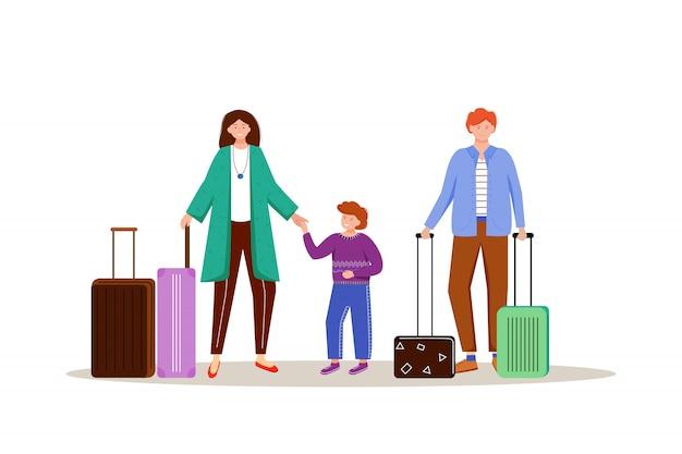 Family with luggage flat illustration