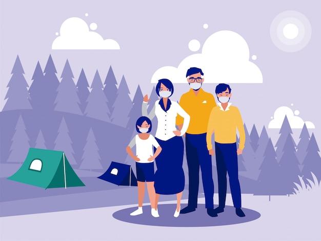 Семья с масками перед пейзажем с палатками