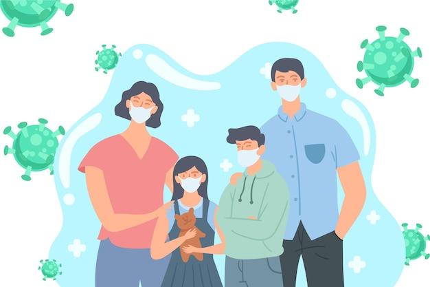 바이러스로부터 보호되는 의료 마스크가있는 가족