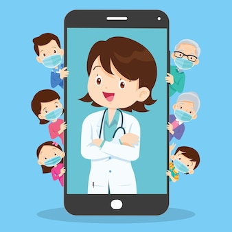 Family with mobile app family doctor family using mobile application health consult online doctor