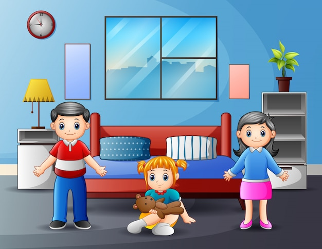 Family with parents and kid in bedroom illustration