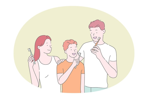 Семья с сыном чистит зубы зубной пастой и зубной щеткой
