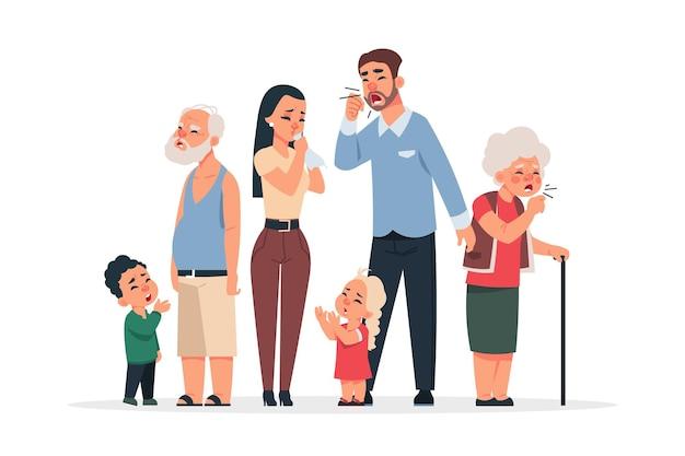 ウイルスのある家族。コロナウイルス病の症状と予防、漫画の老いも若きキャラクターも咳やくしゃみをします。検疫の概念のベクトル図病気家族