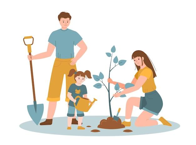 물을 수 있는 가족과 삽으로 나무를 심습니다. 캐릭터 묘목 정원. 생태적 라이프 스타일