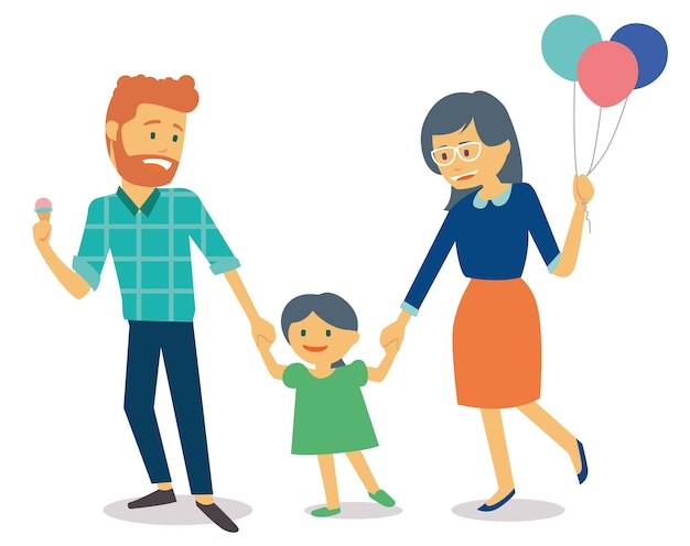 Family with young kid and mother holding balloons