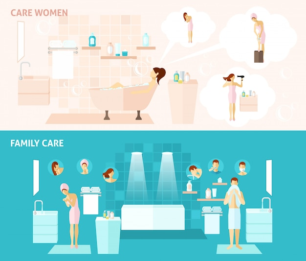 Family and woman care banner