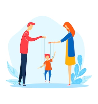 Family woman man child problem, mother father manipulate cartoon son,  illustration.  relations cruelty, despotic parent conflict.