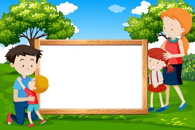 Family on wooden frame