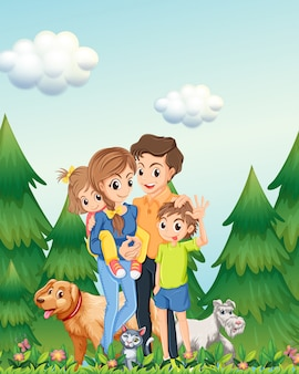 Family in woods scene illustration