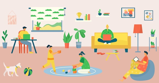 Family work at home, freelance by computer