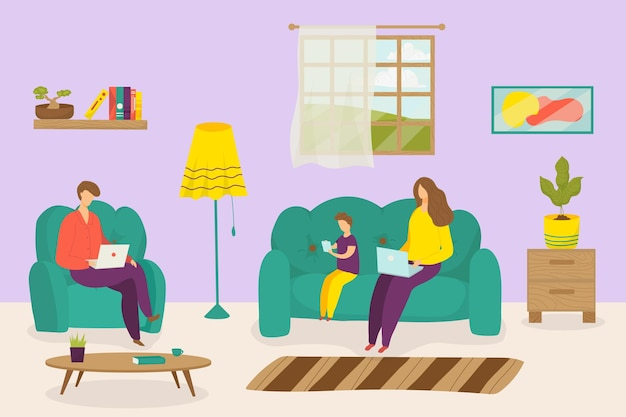 Family work at home vector illustration man woman character use computer laptop for freelance online...