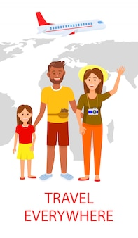 Family on world map background flat flyer template