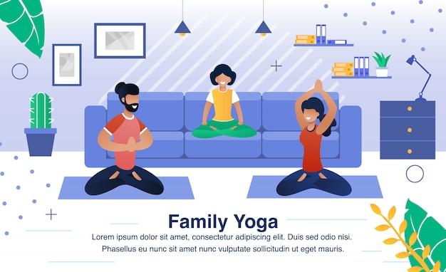 Family yoga exercises flat vector illustration