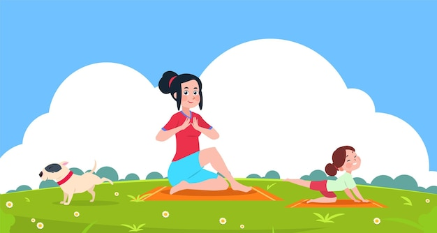 Family yoga. girl outdoor, stretching exercise in park.