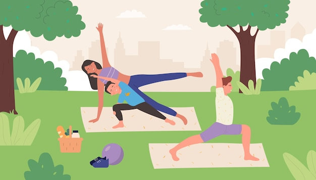 Family yoga in summer park outdoor   illustration.  happy family people do asana together, father mother child practicing yoga poses, meditating together. healthy life background