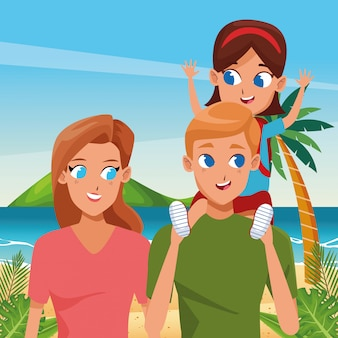 Family young parents with children cartoon