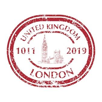 Famous big ben in london on grunge postal stamp. vector illustration
