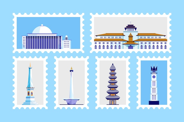 Famous building in indonesia. postage stamp design.