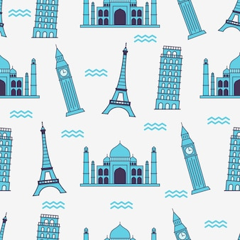 Famous building in the world pattern