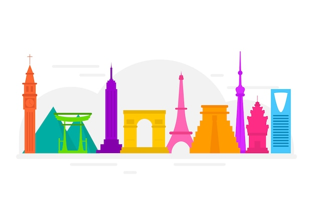 Famous building worldwide colorful design