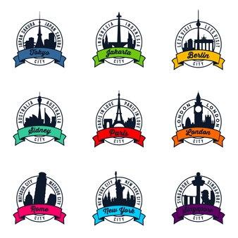 世界の有名な都市バッジ