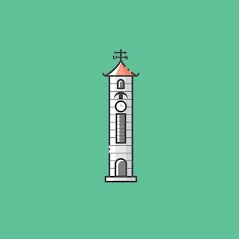 コタキナバルサバマレーシアの有名な時計塔の建物と観光のランドマーク