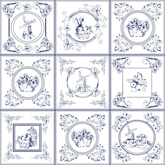 Famous delft blue tiles icons collection