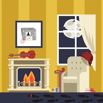 Famous detectives room, sherlock result  illustration. atmosphere for revealing complicated criminal case, crime. bowler hat