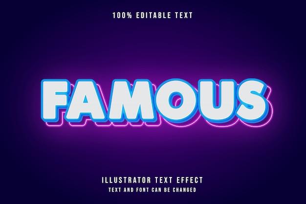 Знаменитый редактируемый текстовый эффект с синей градацией розового неона в современном стиле