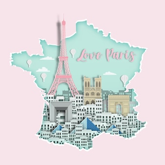 Famous france landmark on map for travel poster