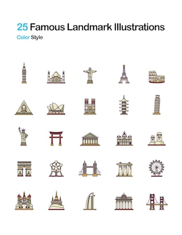 Famous landmark color illustrations