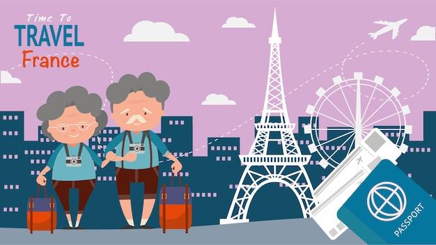 旅行建築観光スポットのための有名なランドマーク。老夫婦観光客は、旅行france.on世界旅行の概念ベクトル図の時間。