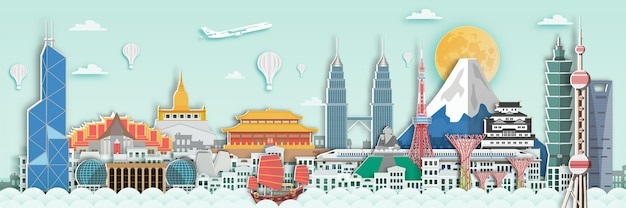 종이 아트 스타일로 아시아 여행 카드의 유명한 랜드 마크.