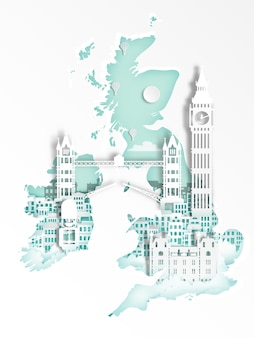 旅行ポスターのための有名なランドマーク、イングランド、ロンドンのペーパーアートスタイル。