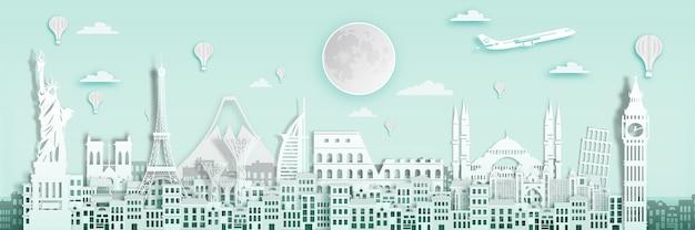 世界の旅行のポスター、イギリス、フランス、スペインの有名なランドマークで紙のアートスタイル。