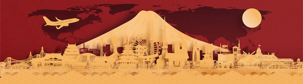 Famous landmark of japan, city and skyline for travel banners, postcard and advertising, red and gold background