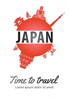 Famous landmark of japan  on globe