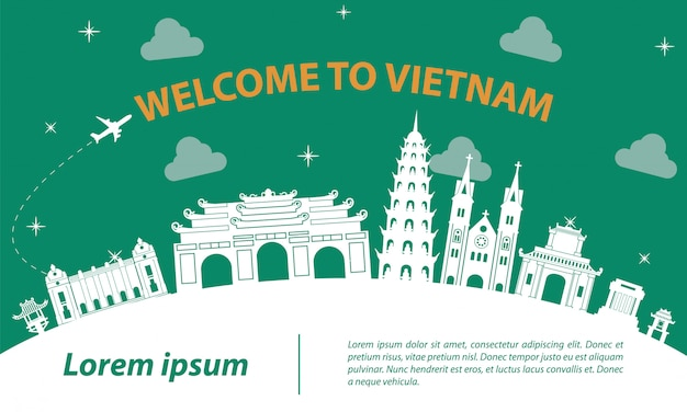 Famous landmark of vietnam silhouette design