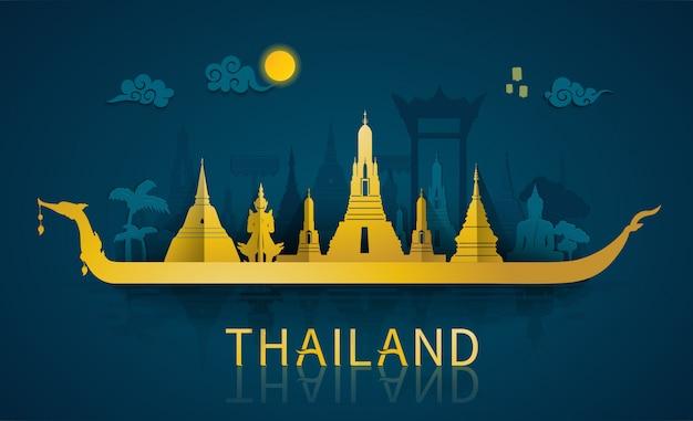 Знаменитые достопримечательности и туристическая достопримечательность таиланда в стиле вырезки из бумаги