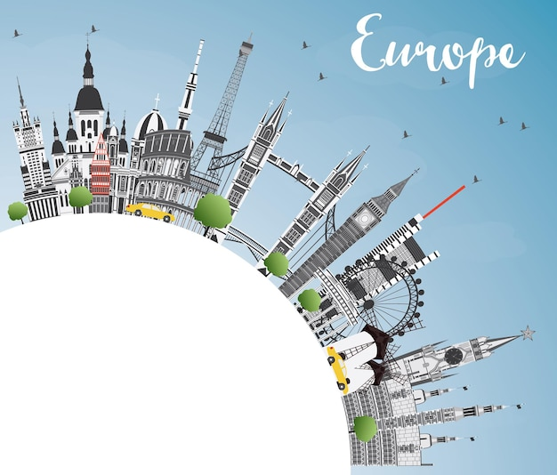 Famous landmarks in europe with copy space. vector illustration. business travel and tourism concept. image for presentation, banner, placard and web site