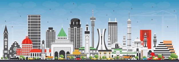 아프리카의 유명한 랜드마크. 벡터 일러스트 레이 션. 비즈니스 여행 및 관광 개념입니다. 프리젠테이션, 배너, 현수막 및 웹사이트용 이미지