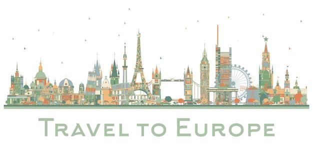 유럽의 유명한 랜드마크. 벡터 일러스트 레이 션. 비즈니스 여행 및 관광 개념입니다. 프리젠테이션, 배너, 현수막 및 웹사이트용 이미지