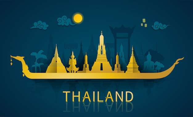 Famous landmarks and tourist attraction of thailand with paper cut style