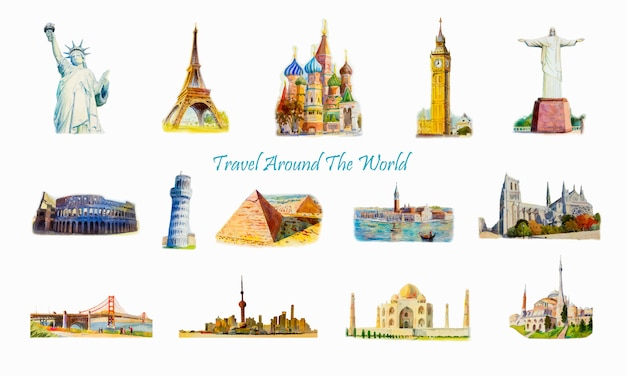 Famous landmarks of the world.