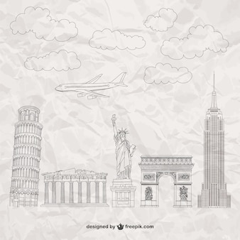 Famous monuments on paper texture
