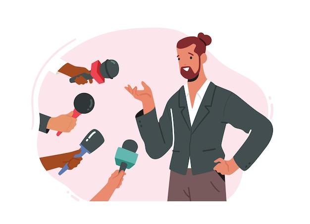 有名な政治家のキャラクターが新聞記者にインタビューします Premiumベクター