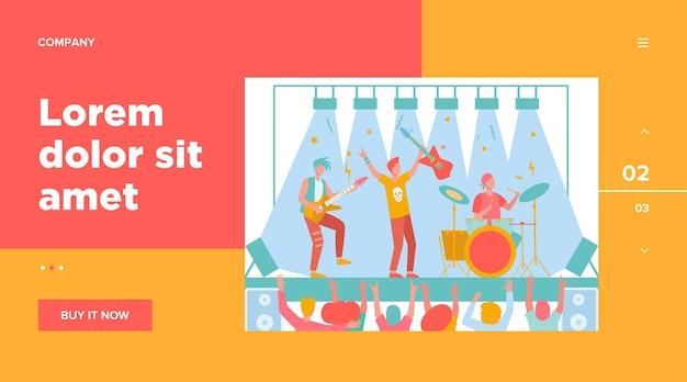 Известная рок-группа играет музыку и поет на сцене плоской иллюстрации.
