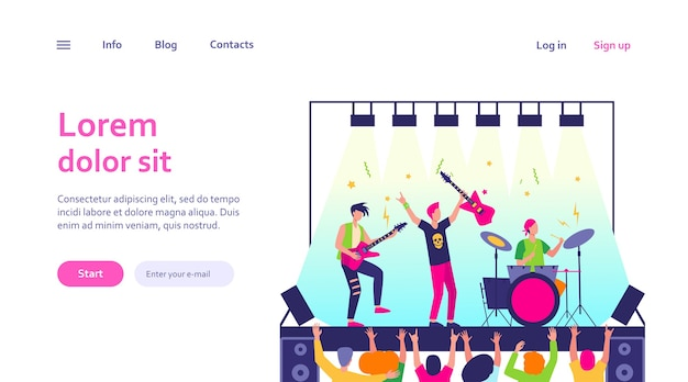 Известная рок-группа, играющая музыку и поющая на сцене веб-шаблон. мультяшная толпа людей, стоящих возле сцены и размахивающих руками