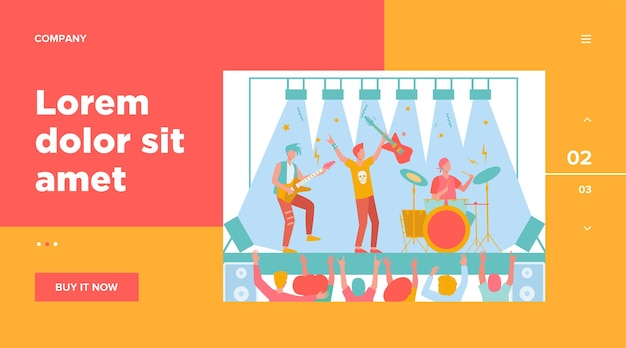 Famous rock band playing music and singing at stage flat illustration.