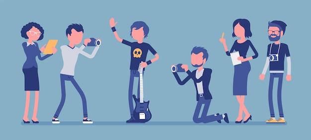 有名なロックスターとジャーナリスト。若い有名な男性ポップミュージシャン、ギター、新聞、雑誌の男性が彼を撮影し、ニュースを集めている歌手。顔のない文字でベクトル図